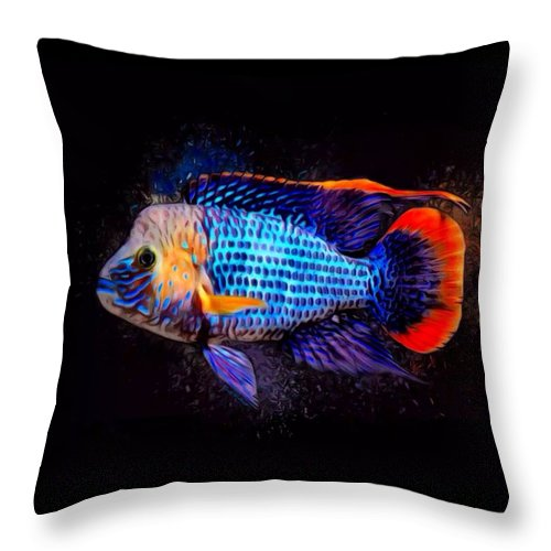 Green Terror Throw Pillow featuring the digital art Green Terror Cichlid Fish by Scott Wallace Digital Designs