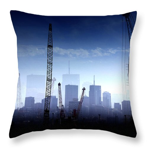Landscape Throw Pillow featuring the photograph Growth in the City by Holly Kempe