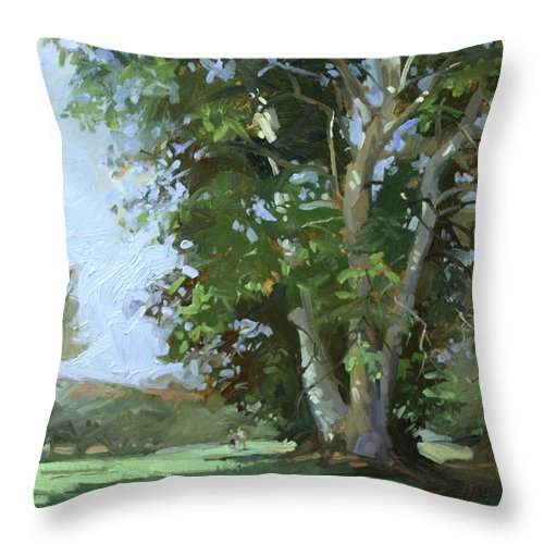 Golf Courses Throw Pillow featuring the painting Guardian of the Green by Betty Jean Billups