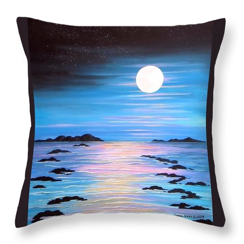 Night Throw Pillow featuring the painting Guiding Light by Carol Sabo