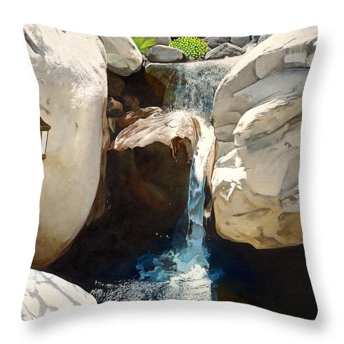 Landscape Throw Pillow featuring the painting Guiding Light by Snake Jagger