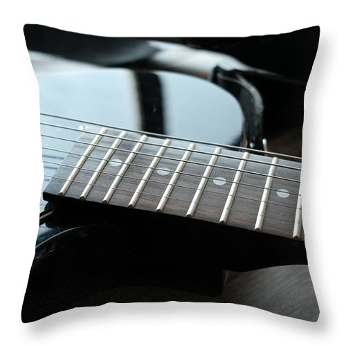 Guitar Throw Pillow featuring the photograph Guitar Fingerboard Or Fretboard Closeup by Luca Lorenzelli