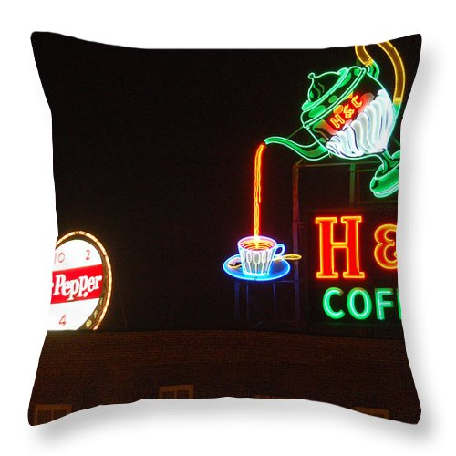 H C Coffee Throw Pillow featuring the photograph H and C Coffee Sign Roanoke Virginia by Suzanne Gaff