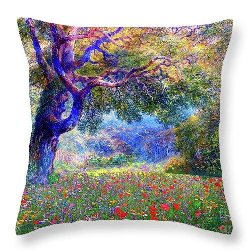 Landscape Throw Pillow featuring the painting Happiness Blooming by Jane Small