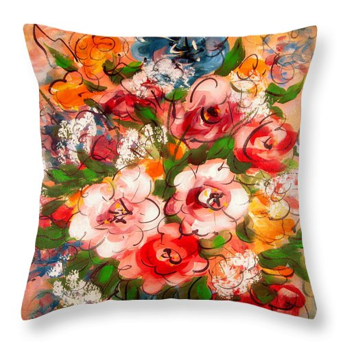 Red Flowers Throw Pillow featuring the painting Happy Memories by Natalie Holland