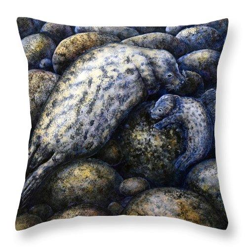 Harbor Seals In Moonlight Throw Pillow featuring the painting Harbor Seals In Moonlight by Frank Wilson