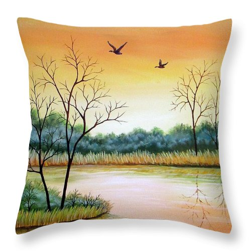 Acrylic Throw Pillow featuring the painting Heading Home by Carol Sabo
