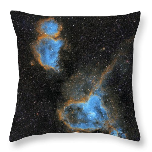 Nebula Throw Pillow featuring the photograph Heart and Soul Nebula by Prabhu Astrophotography