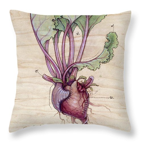 Heart Throw Pillow featuring the pyrography Heart Beet by Fay Helfer