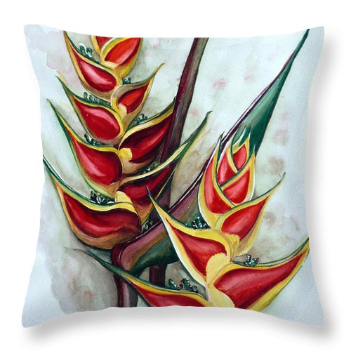 Caribbean Painting Flower Painting Floral Painting Heliconia Painting Original Watercolor Painting Of Heliconia Bloom  Trinidad And Tobago Painting Botanical Painting Throw Pillow featuring the painting Heliconia Tropicana Trinidad by Karin Dawn Kelshall- Best