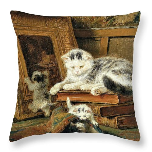 Hide And Seek Throw Pillow featuring the painting Hide and seek - Digital Remastered Edition by Henriette Ronner-Knip
