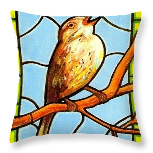 Birds Throw Pillow featuring the painting His Eye Is On the Sparrow by Jim Harris