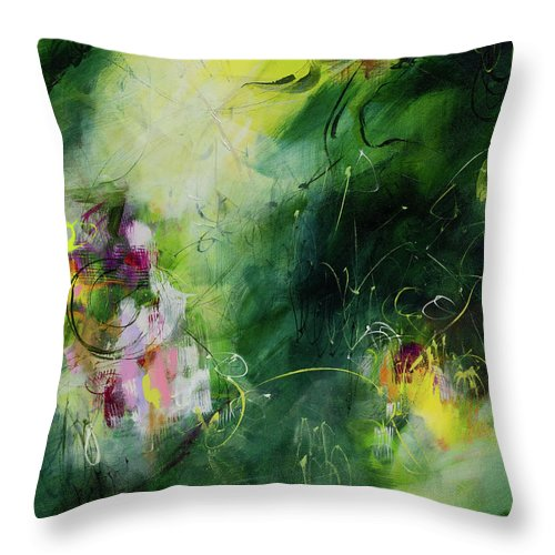 Acrylic Throw Pillow featuring the painting Hold on to the Moment by Lynda Goldman