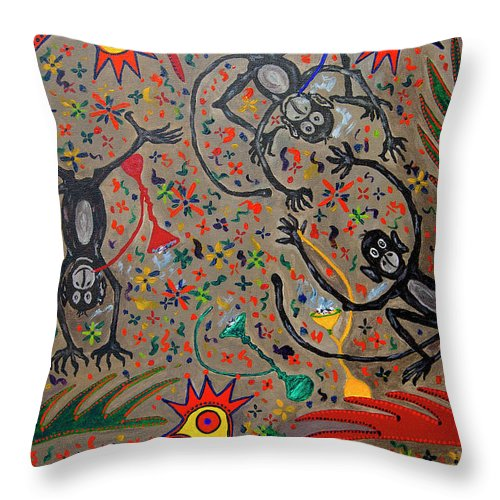 Contemporary Folk Art Throw Pillow featuring the painting Hookah Monkeys - Jinga Monkeys Series by Fareeha Khawaja
