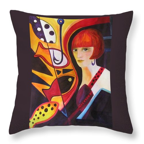 Woman Throw Pillow featuring the painting Hooked by Carolyn LeGrand