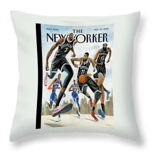 Hoop Dreams in New York Throw Pillow