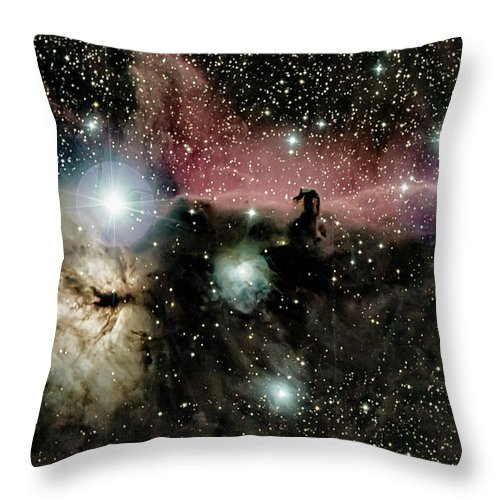 Astro Throw Pillow featuring the photograph Horsehead and flame nebulae by Nunzio Mannino