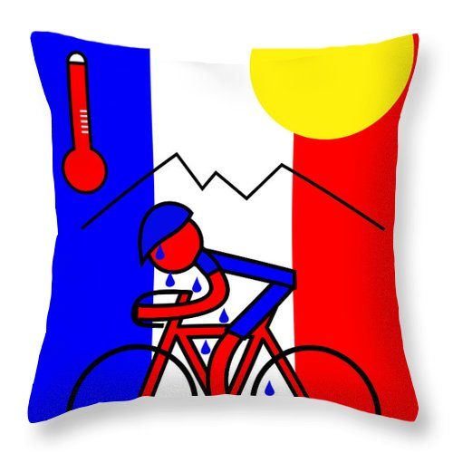 Hot In France Throw Pillow featuring the mixed media Hot in France by Asbjorn Lonvig