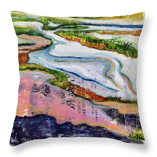 Geothermal Throw Pillow featuring the mixed media Hot Stress Relief by Jennie Traill Schaeffer