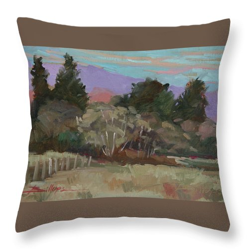 Northern California Throw Pillow featuring the painting Humbolt Fields by Betty Jean Billups