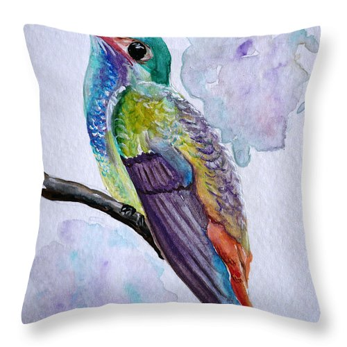Humming Bird Painting Bird Painting Tropical Painting Caribbean Painting Throw Pillow featuring the painting Hummingbird 1 by Karin Dawn Kelshall- Best