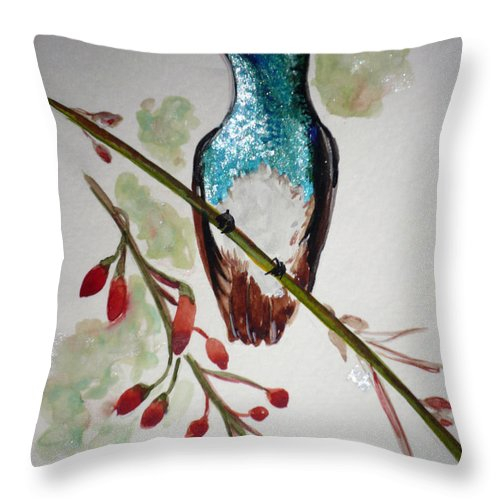 Hummingbird Painting Bird Painting Caribbean Painting Throw Pillow featuring the painting Hummingbird 3 by Karin Dawn Kelshall- Best
