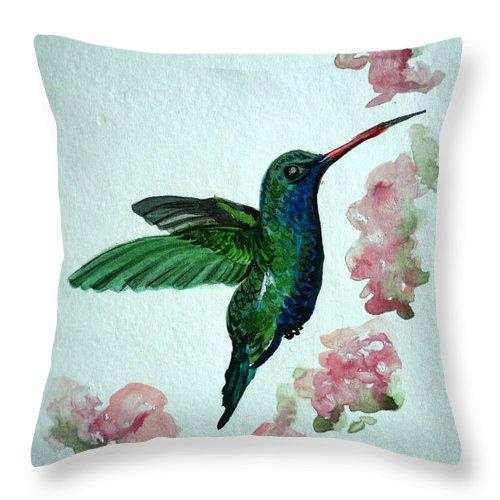 Hummingbird Painting Tropical Bird Green Bird Painting Throw Pillow featuring the painting Hummingbird 4 by Karin Dawn Kelshall- Best