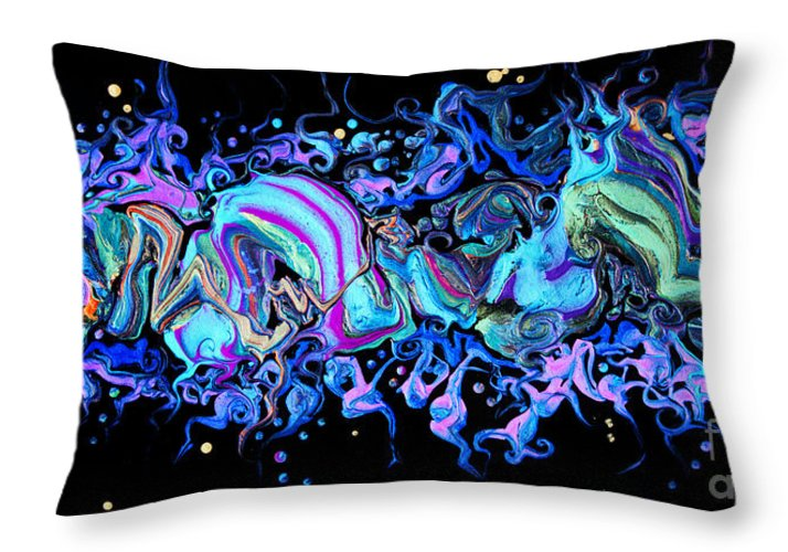 Freeform Shapes Floating Compelling Dramatic Colorful Seductive Organic Dynamic Fun Throw Pillow featuring the painting I hear Laughter On The Wind 7205 by Priscilla Batzell Expressionist Art Studio Gallery