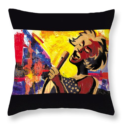 Everett Spruill Throw Pillow featuring the painting I Sings Da Blues by Everett Spruill