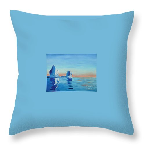 Iceberg Throw Pillow featuring the painting Ice Island by Anthony Dunphy