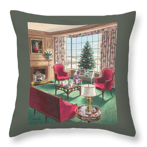 Throw Pillow featuring the painting Illustration Of A Christmas Living Room Scene by Urban Weis
