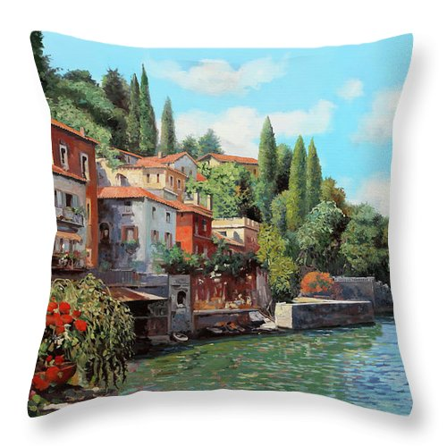 Lake Como Throw Pillow featuring the painting Impressioni Del Lago by Guido Borelli
