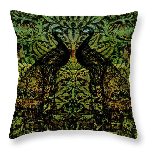 Peafowls Throw Pillow featuring the digital art Indian Blue Peafowl Pattern by Sarah Vernon