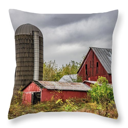 Landscape Throw Pillow featuring the photograph Indiana Barn #108 by Scott Smith