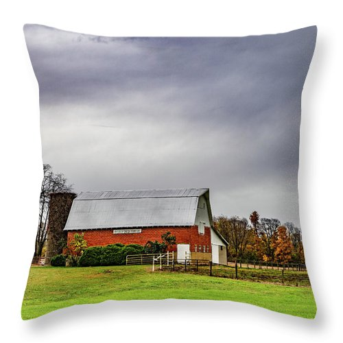 Landscape Throw Pillow featuring the photograph Indiana Barn #112 by Scott Smith