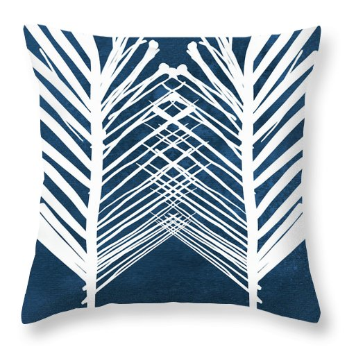 Leaves Throw Pillow featuring the painting Indigo and White Leaves- Abstract Art by Linda Woods