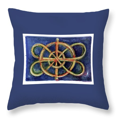 Miniature Throw Pillow featuring the painting Infinity Loops by Elle Smith Fagan