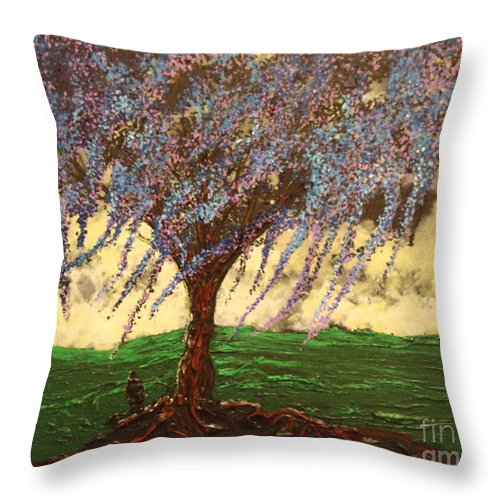 Landscape Throw Pillow featuring the painting Inspiration of What Dreams May Come by Stefan Duncan