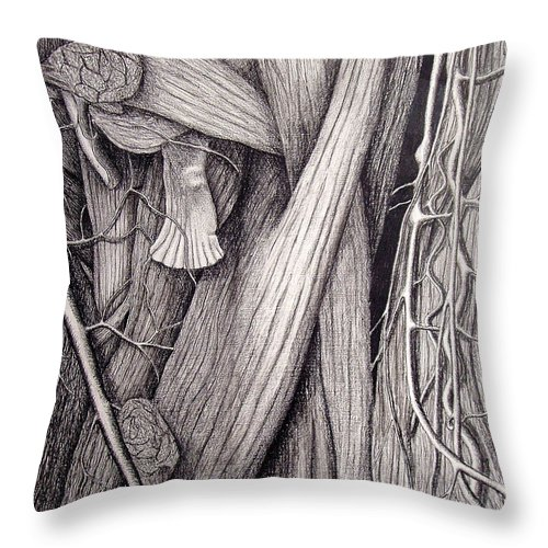 Veins Throw Pillow featuring the drawing Internal Scape by Nancy Mueller