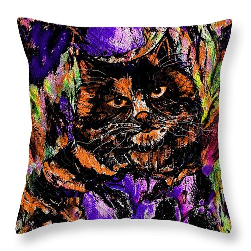 Cat Throw Pillow featuring the painting Iris by Natalie Holland