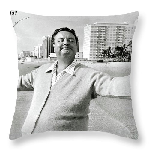 Jackie Gleason Throw Pillow featuring the photograph Jackie Gleason, how sweet it is, Miami Beach, FL by Thomas Pollart