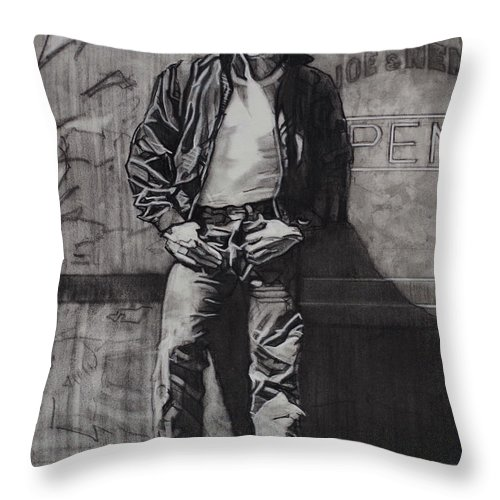 Charcoal On Paper Throw Pillow featuring the drawing James Dean by Sean Connolly