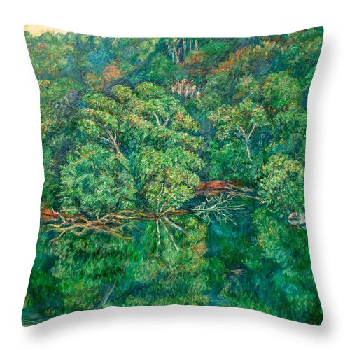 Landscape Throw Pillow featuring the painting James River Moment by Kendall Kessler