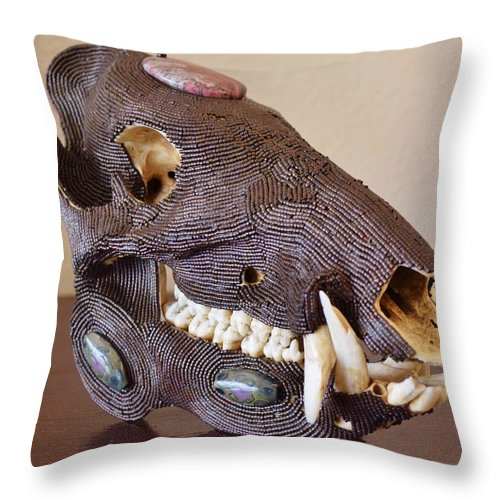Beads Throw Pillow featuring the mixed media Javelina by Charla Van Vlack