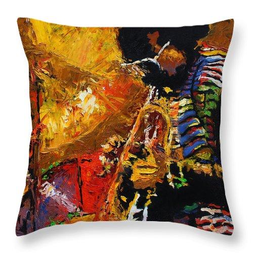 Jazz Throw Pillow featuring the painting Jazz Miles Davis 3 by Yuriy Shevchuk
