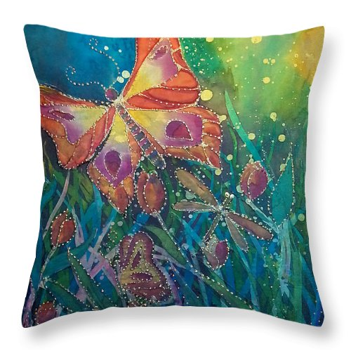 Silk Painting Throw Pillow featuring the painting Jeweled Butterfly Fantasy by Francine Dufour Jones