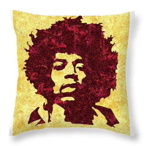 Jimi Hendrix Print Throw Pillow featuring the mixed media Jimi Hendrix Print, Jimi Hendrix Poster, Rock Music Lovers Gift by Irina Pospelova
