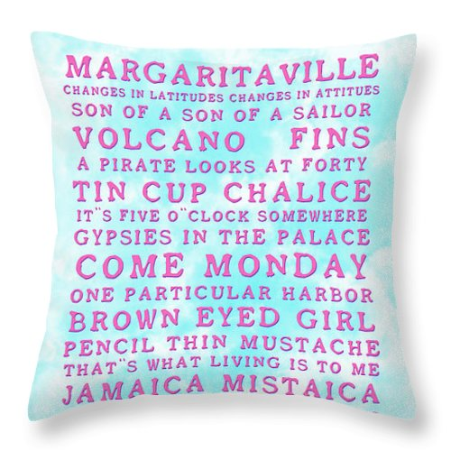 Jimmy Buffett Throw Pillow featuring the photograph Jimmy Buffett Concert Set List Old Style Embossed Pink Font On Caribbean Blue Watercolor by John Stephens