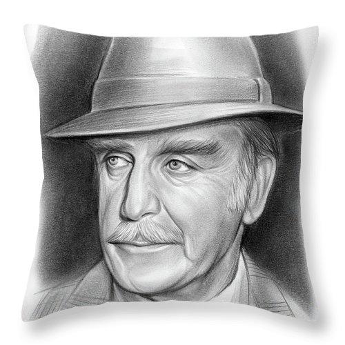 John Dehner Throw Pillow featuring the drawing John Dehner - pencil by Greg Joens