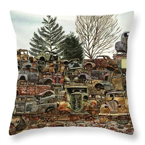 Old Cars Throw Pillow featuring the painting Junkyard No.1 by Ron Morrison